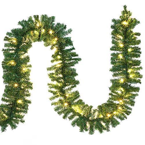 Casaria Weihnachtsgirlande 5m Girlande 100 LEDs Weihnachten Innen Außen IP44...