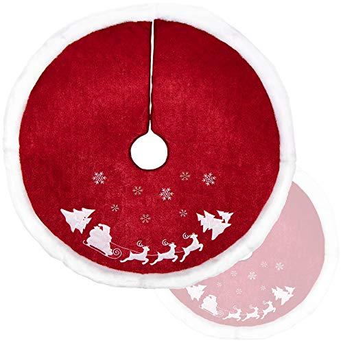 com-four® Hochwertige Weihnachtsbaumdecke zum Schutz vor Tannennadeln - runde...