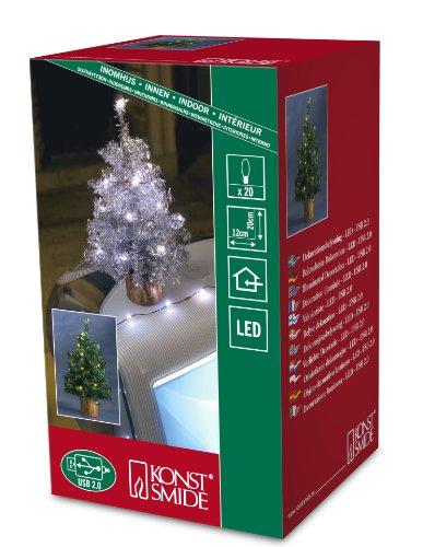 Konstsmide USB Künstlicher Weihnachtsbaum mit Lametta und 20grünen LEDs, Grün