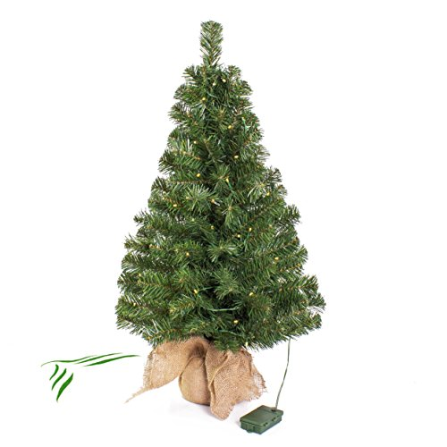 artplants.de Mini Weihnachtsbaum WARSCHAU, LED's, Jutesack, 90cm, Ø 50cm - Künstlicher...