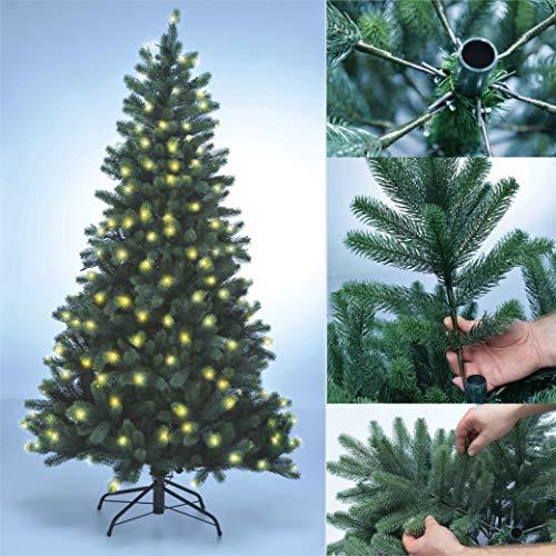 Xenotec PE- Weihnachtsbaum künstlich ca.180cm hoch mit 222 LED- warmweißes Licht- Das Original