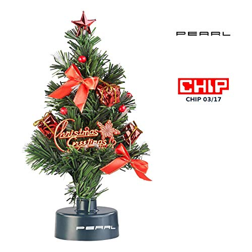 PEARL Mini Weihnachtsbaum: USB-Weihnachtsbaum mit LED-Farbwechsel-Glasfaserlichtern (Weihnachtsbaum...