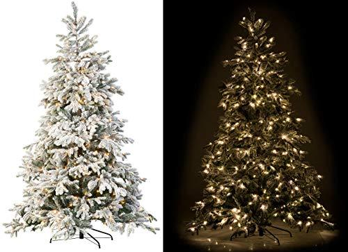 infactory Christbaum geschmückt: Künstlicher Weihnachtsbaum, weiße Spitzen, 500 LEDs,...