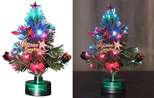 PEARL LED Weihnachtsbaum klein: LED-Weihnachtsbaum mit Glasfaser-Farbwechsler (Mini Weihnachtsbaum...