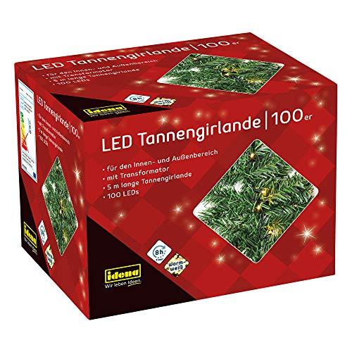 Idena 31814 - LED Tannengirlande mit 100 LED warm weiß, mit 8 h Timer Funktion, Innen und...
