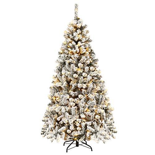 COSTWAY 180/225cm Künstlicher Weihnachtsbaum mit Schnee und warmweißen LED-Leuchten,...