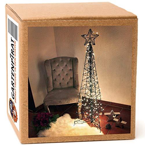 Gartenpirat Moderner Weihnachtsbaum 150 cm Pyramide aus Metall/Lichterketten 264 LED