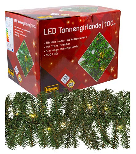 Idena 31814 LED Tannengirlande mit 100 LED warm weiß, ca. 25 cm x 5 m (ohne Draht)