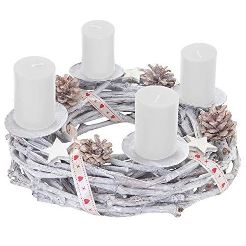 Mendler Adventskranz rund, Weihnachtsdeko Tischkranz, Holz Ø 30cm weiß-grau - mit...