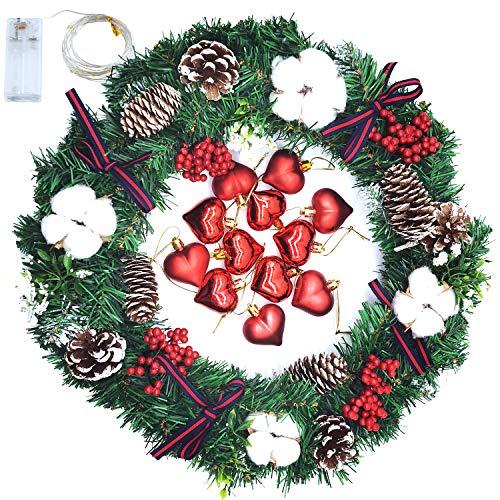 Qingxian 40cm Adventskranz Künstlich Mit 20 Warm Weißen Led Weihnachten Dekoration Kranz...