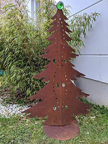 Zen Man Edelrost Garten Weihnachtsdekoration mit Glaskugel Glasdeko Weihnachtsbaum Dekobaum aus...