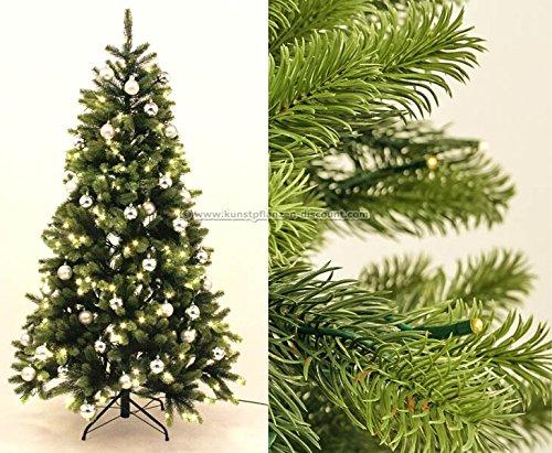 Spritzguss Christbaum mit LED Beleuchtung und silbernen Kugeln, 498 Tips B1, Höhe 150cm, Narwik...