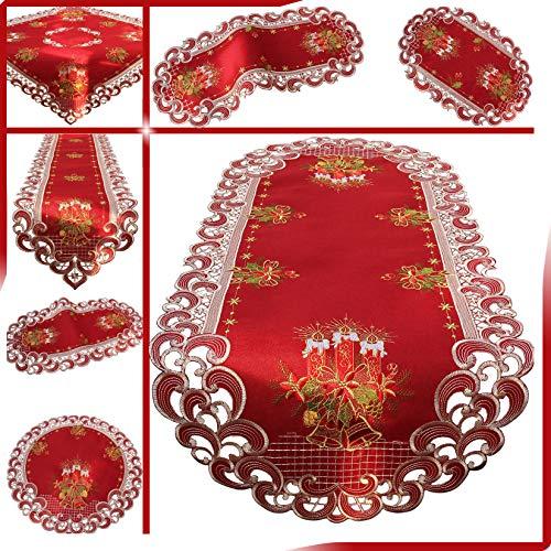 Quinnyshop Weihnachten Tischdecke Tischläufer Dunkelrot Leinenoptik Rot Kerzen Stickerei...