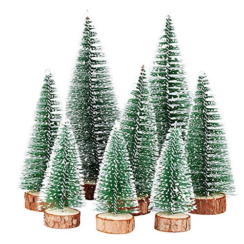 FLOFIA 8 TLG. 3 Größe Mini Weihnachtsbaum Künstlich Miniatur Tannenbaum Grün Mini...