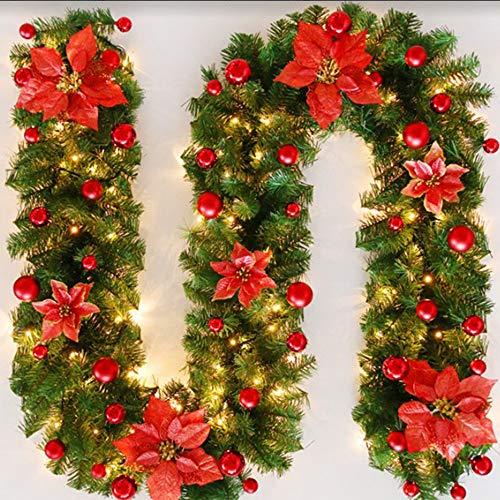 Bcamelys Weihnachtsgirlande mit Beleuchtung Weihnachtsdekoration 270cm Weihnachtsgirlande...