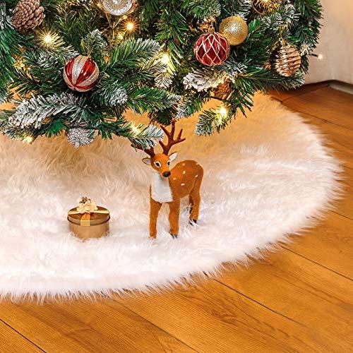 Yorbay Tannenbaum Decke kunstfell Weiß Rund Rock Teppich Filz für Schnee Christbaum...