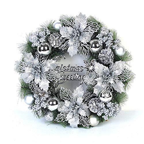 HARLIANGXY Weihnachtskranz Türkranz, für Deko, Weihnachten, ca. 40 cm, Silber