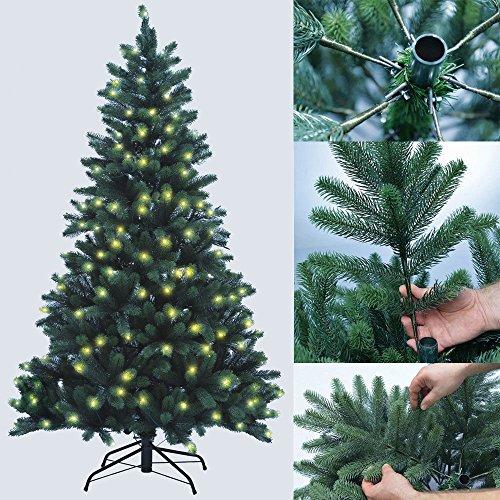 PROHEIM Weihnachtsbaum 180 cm Voll-PE Premium Christbaum mit LED Beleuchtung und Standfuß -...