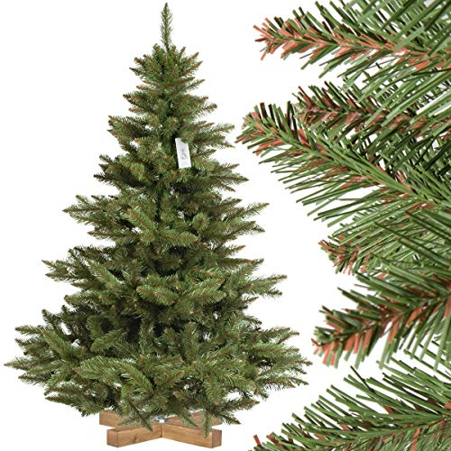 FairyTrees Weihnachtsbaum künstlich NORDMANNTANNE, grüner Stamm, Material PVC, inkl. Holzständer,...