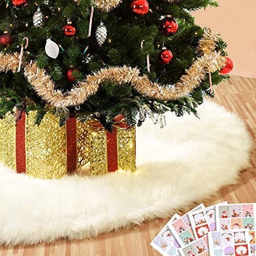 Joyjoz Weihnachtsbaumrock 122CM Große Weiße Weihnachtsbaumabdeckung mit 48 PCS...