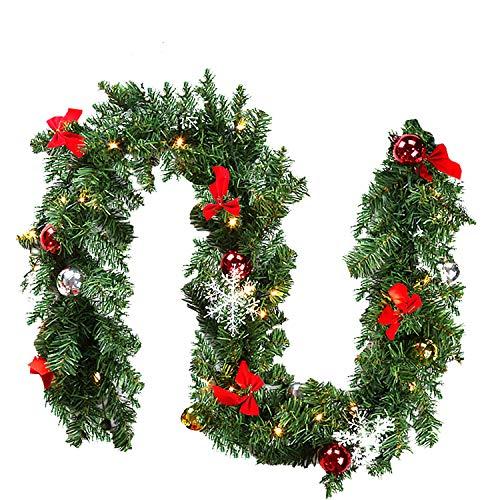 wolketon Weihnachtsgirlande, 5M 100 LED's Tannengirlande inkl Deko, Weihnachtsdeko...