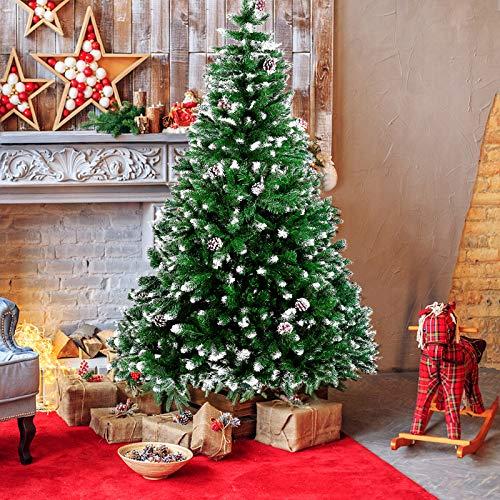 amzdeal Künstlicher Weihnachtsbaum - 180cm Tannenbaum mit Schnee 800 Spitzen und...
