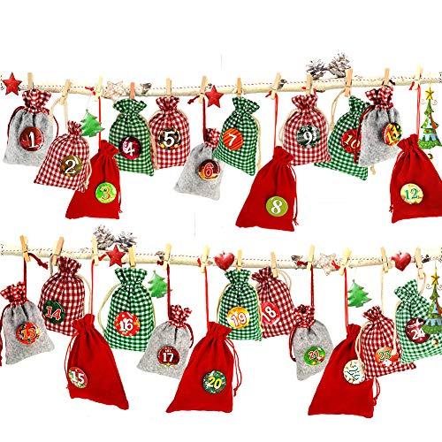 Adventskalender zum Befüllen, Weihnachtskalender Stoffsäckchen zum Selberfüllen, 24...