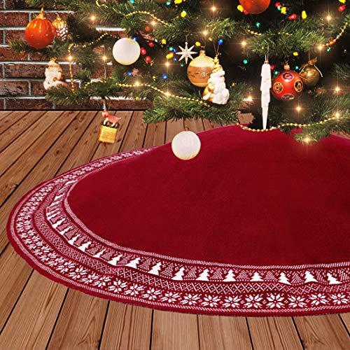Dremisland Große Weihnachtsbaum Rock, 122cm Gestrickter Weihnachtsbaumdecke,...