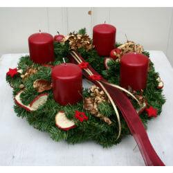 Adventskranz mit 4 roten Kerzen von FRI