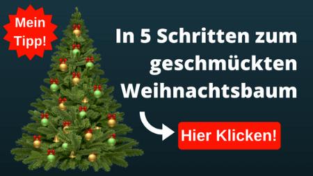 In 5 Schritten Künstlicher Weihnachtsbaum geschmückt
