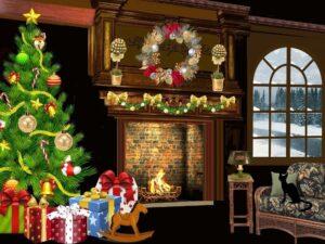 Weihnachtsgirlande über einem Kamin